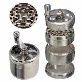 4 Layer Aluminium Crank Herb Grinder - grinders, google-feed, accessories