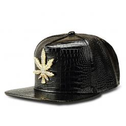 New Weed Baseball Cap – Golden/Silver/Black/Red Leather Snapback