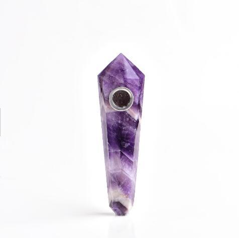 Natural Dream Amethyst Crystal Smoking Pipe + 3 Filters