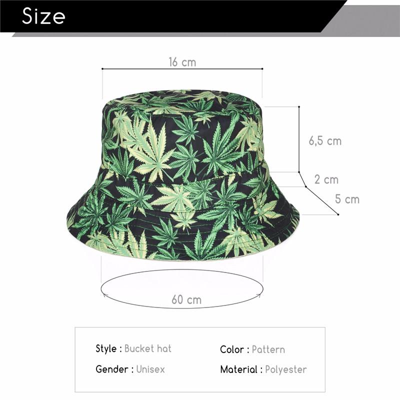 Weed Leaf Printed Bucket Hat - weed-hats-beanies, apparel