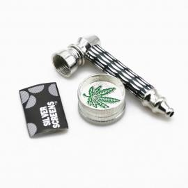 Smoking Pipe + Mini 2 Layer Metal Alloy Herb Grinder & Screen