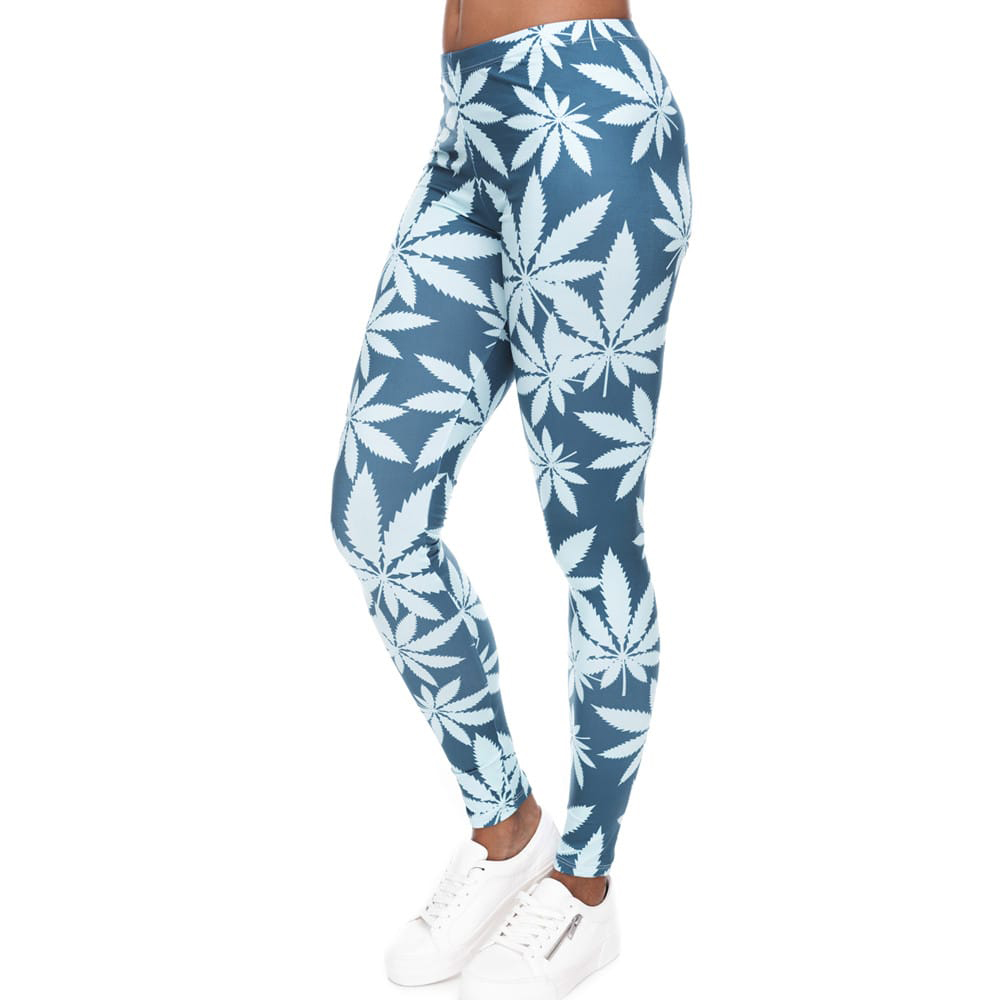 Blue & White Weed Printed Womens Leggings
