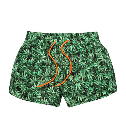 Weed Leaf Pattern Board Shorts Swimsuit – Quick Drying Trunks
