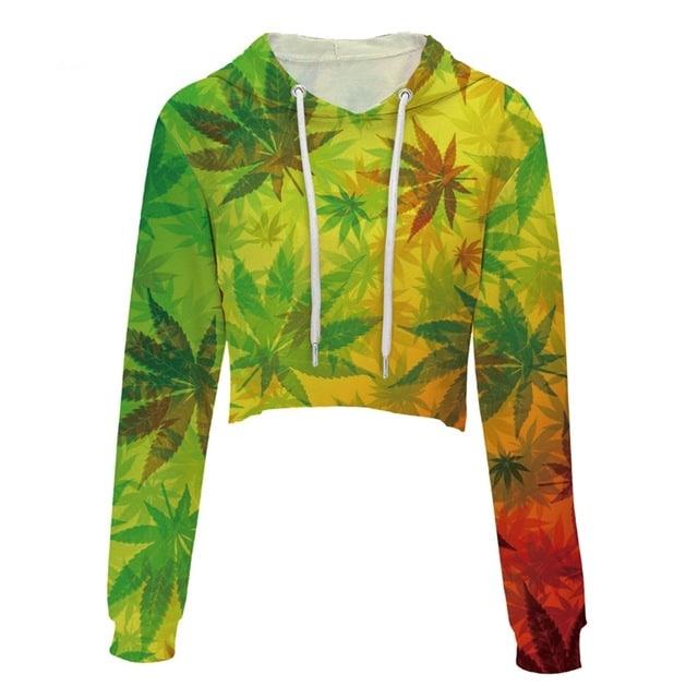 NEW Womens Rasta Leaf Crop Top Pullover Hoodie