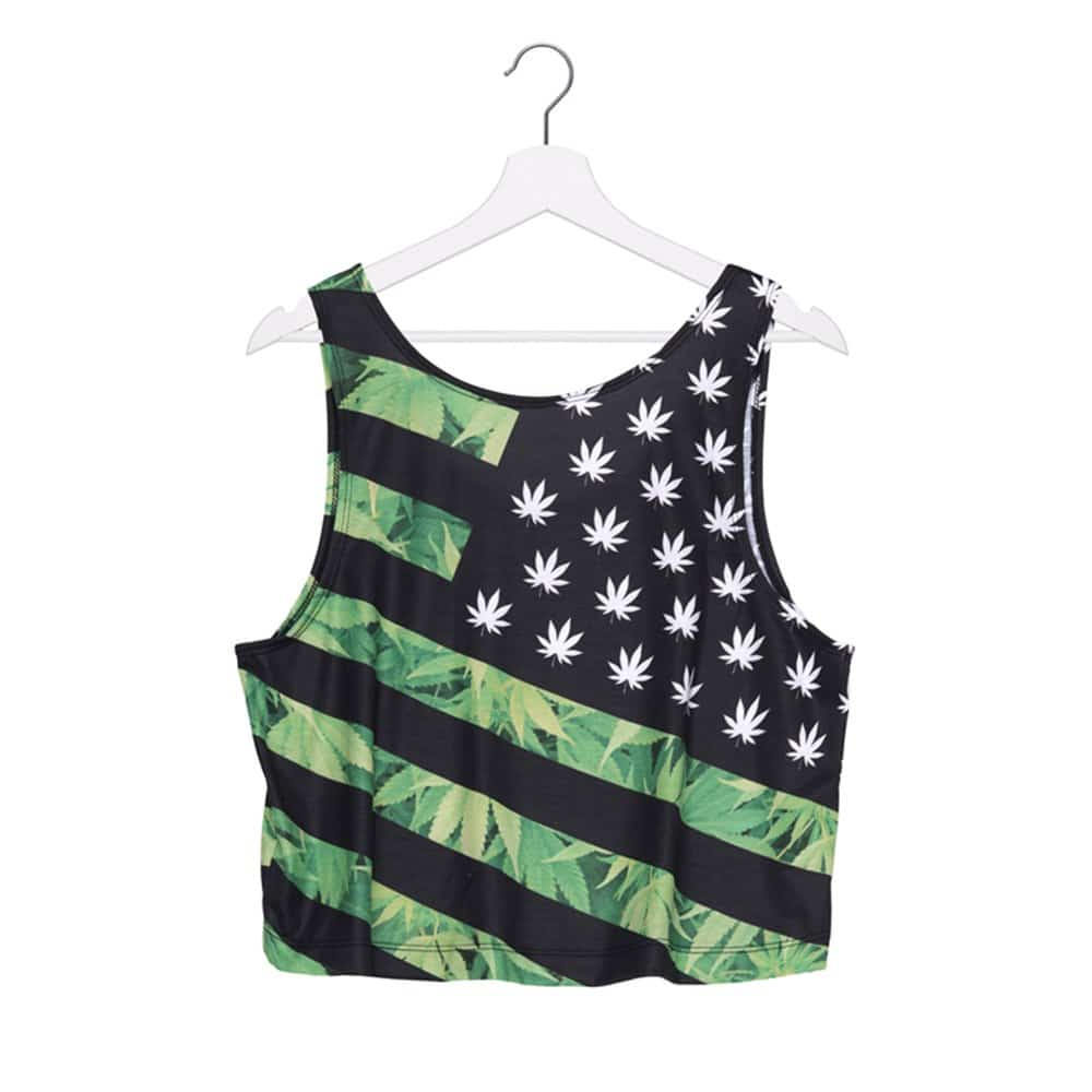 Weed 'Merica Cropped Tank Top – One Size