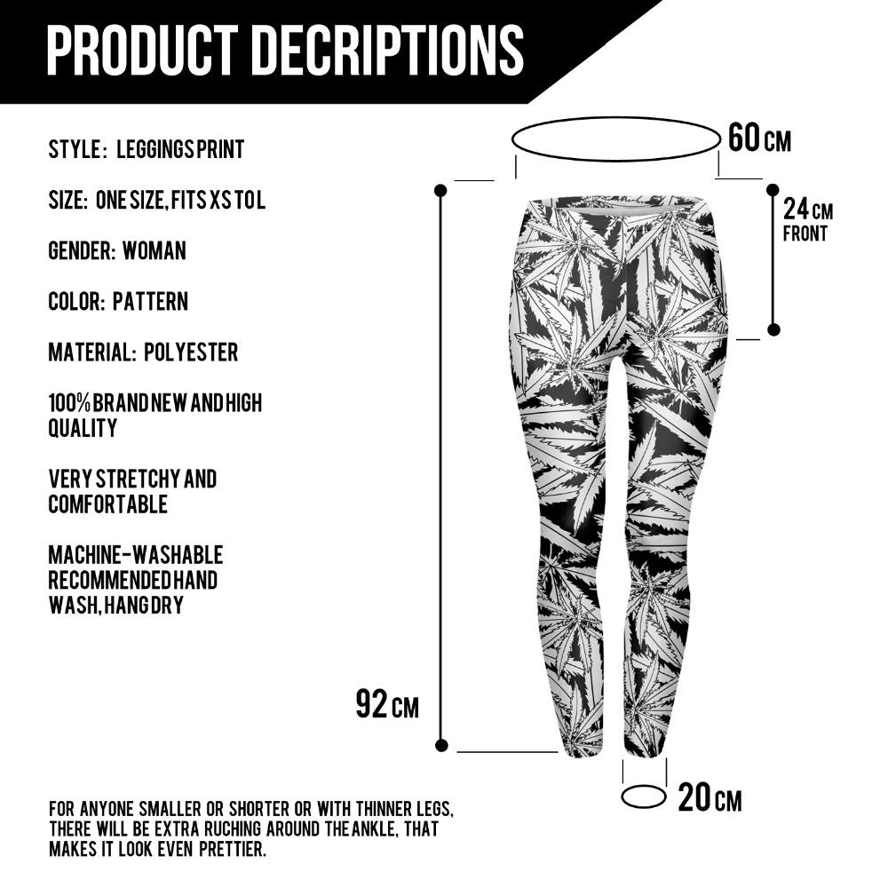 Black & White Large Leaf Leggings - leggings, under-10-clicks, google-feed, apparel