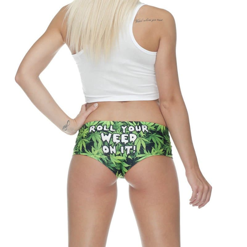 Roll Your Weed On It Weed Leaf Printed Women's Underwear