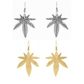 Pot Leaf Earrings – Antique Silver/Gold Pot Leaf Charm