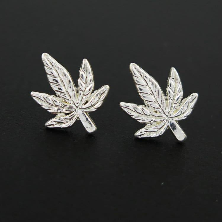 Antique Silver/Gold Tone Pot Leaf Charm Earings