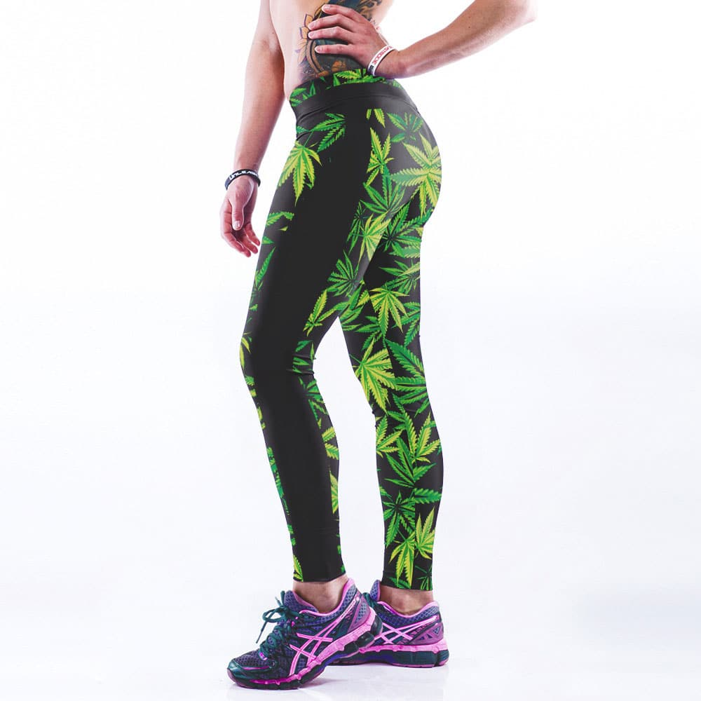 High Elastic Neon Digital Print Leaf Leggings