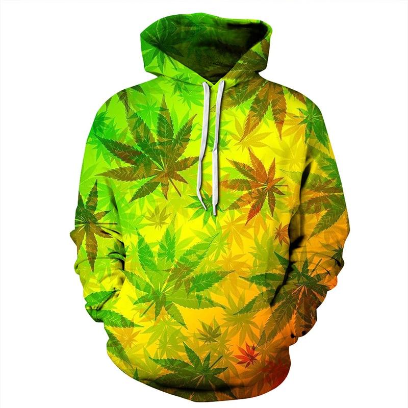 3D Printed Rasta Weed Leaf Hoodie