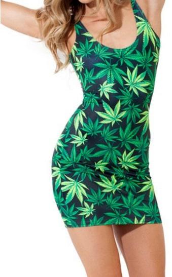 Women Marijuana Leaf Print Pencil Dress