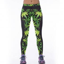 High Elastic Neon Digital Print Leaf Leggings