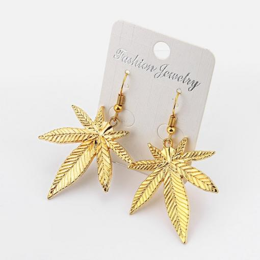 Pot Leaf Earrings – Antique Silver/Gold Pot Leaf Charm
