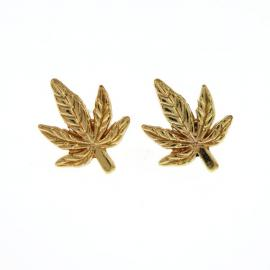 Antique Silver/Gold Tone Pot Leaf Charm Earings