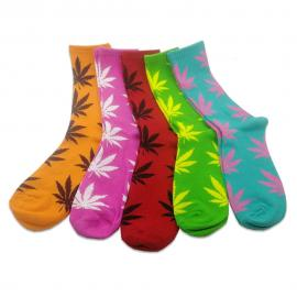 (5 Pack) Assorted Pot Leaf Crew Socks