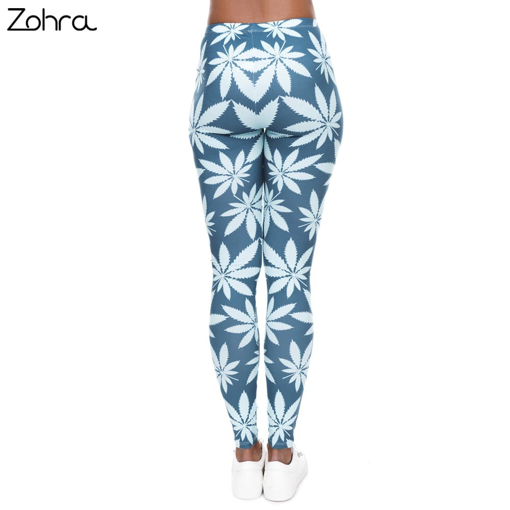 Blue & White Weed Printed Womens Leggings