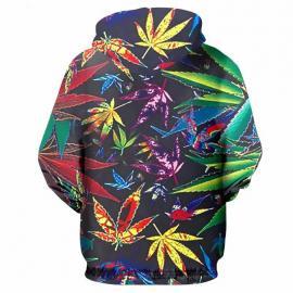 Multi Colored Weed Leaf Printed Hoodie