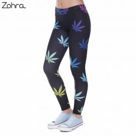 Multi Color Weed Leaf Printed Women Leggings