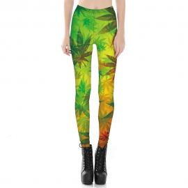 3D Printed Rasta Camo Weed Leaf Leggings for Women