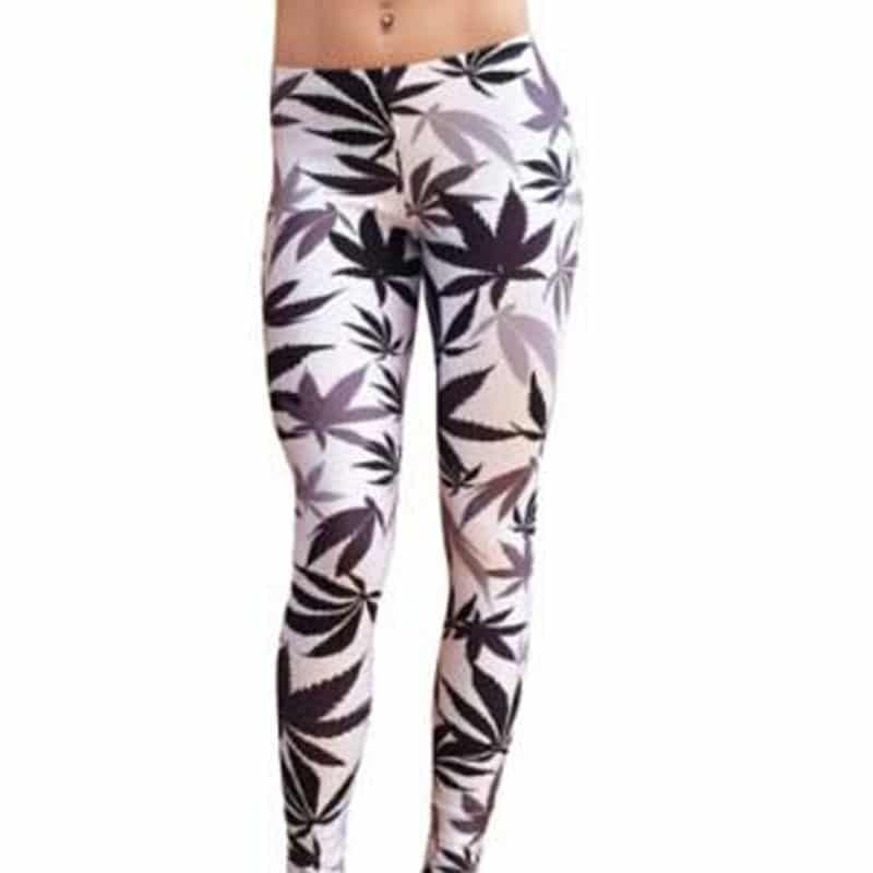 Black & White Weed Leaf Printed Leggings for Women