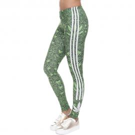 Weed Printed Tri Stripped Leggings