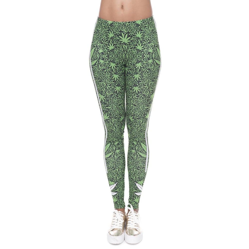 Weed Printed Tri Stripped Leggings
