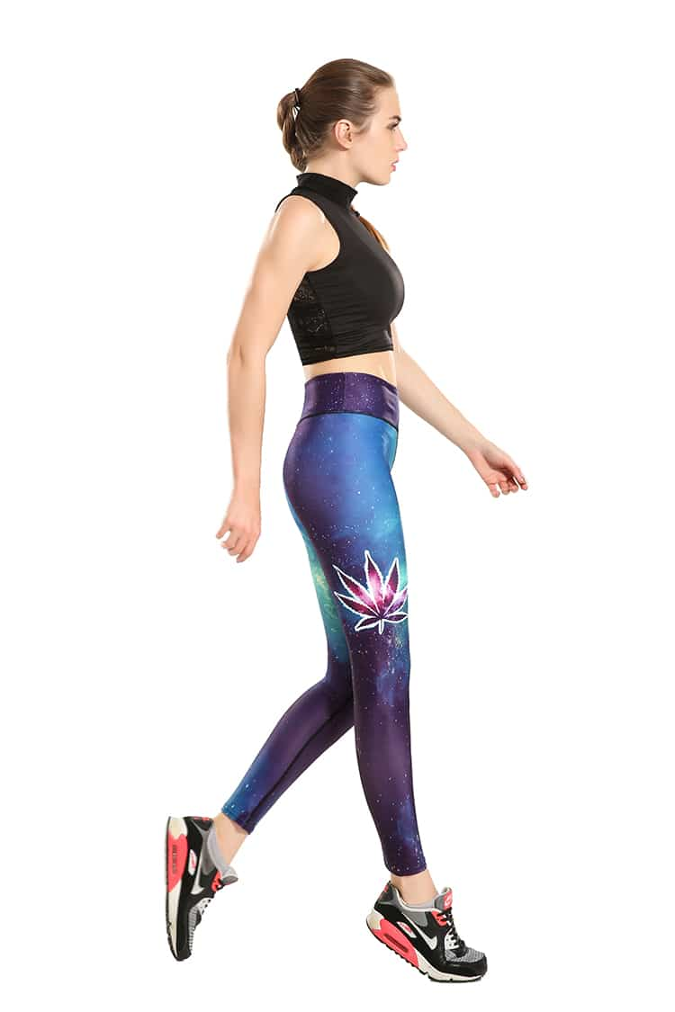 3D Printed Galaxy Leaf Leggings for women