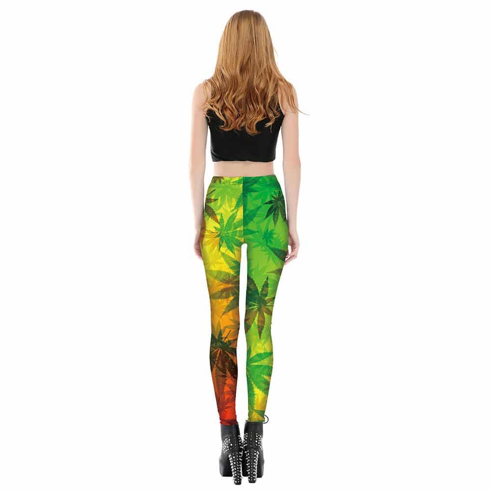 3D Printed Rasta Camo Weed Leaf Leggings for Women