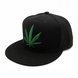 Black & Green Weed Leaf Printed Baseball Cap Snapback