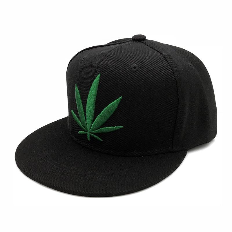 Black & Green Weed Leaf Printed Baseball Cap Snapback