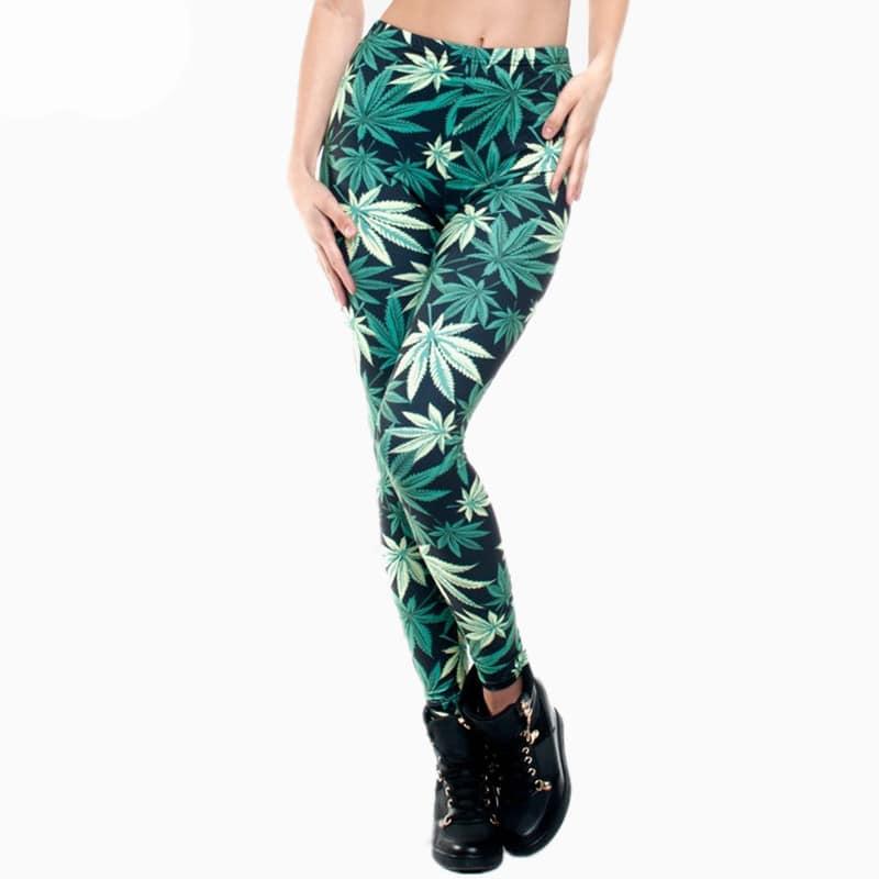 Weed Leaf Sativa Printed Leggings for Women