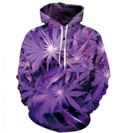 3D Hi Res Purple Weed Leaf Hoodie | Limited Edition