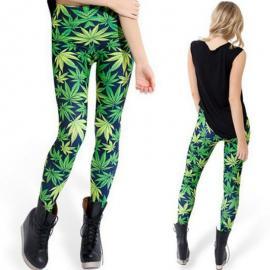 Green Weed Leaf Printed Women Leggings
