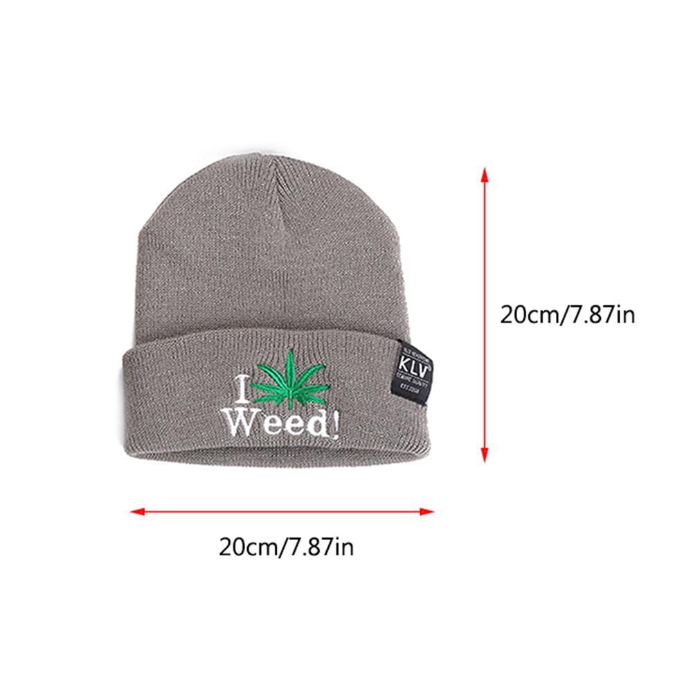 Light Grey I Love Weed! Wool Skullie Cap