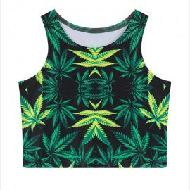 Hip Hop Green Weed Workout Top – One Size