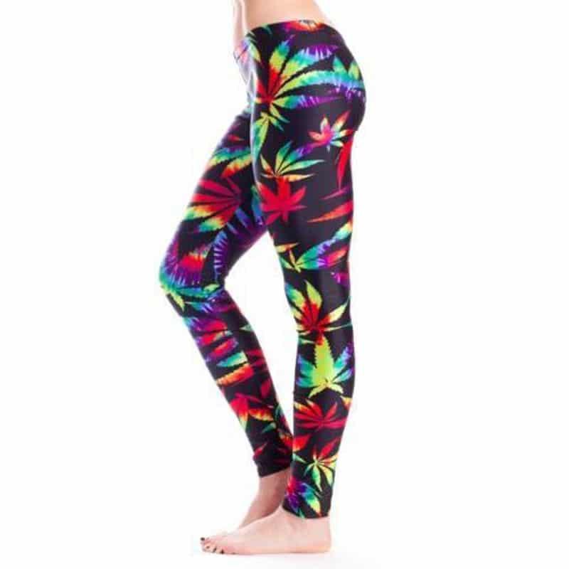 Tie Dye Marijuana Leaf Leggings – One size