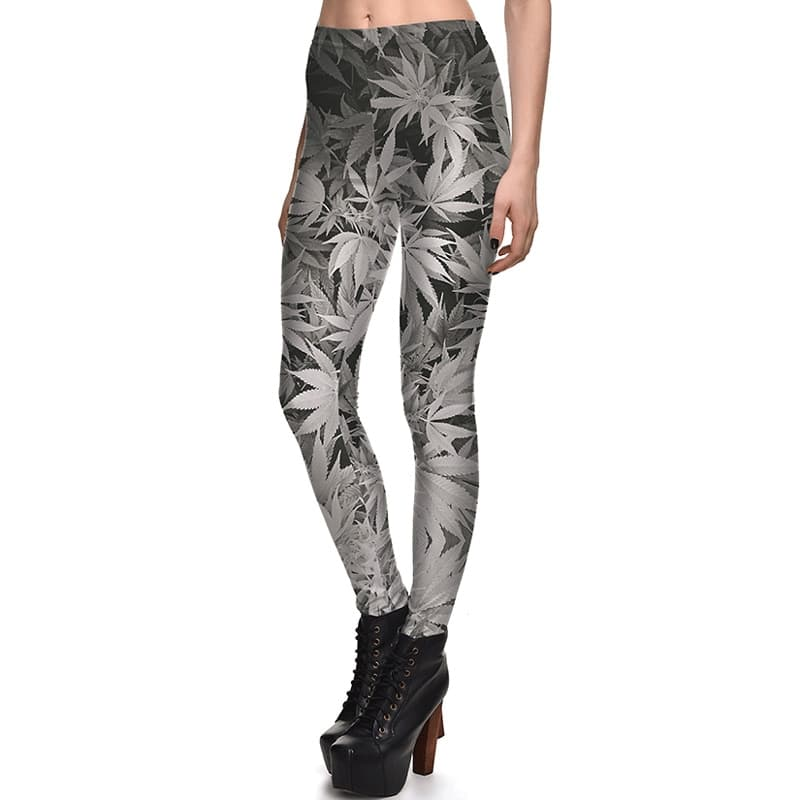 Cannabis Leggings – Black & White Print