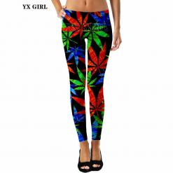 Colorful Leaf Print Cannabis Leggings