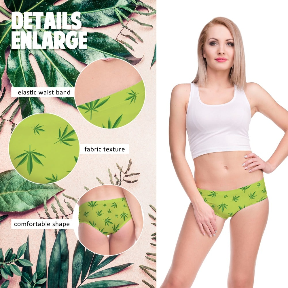 kawaii Cannabis Leaf Print Undies – One Size