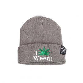 Light Grey I Love Weed! Wool Skullie Cap