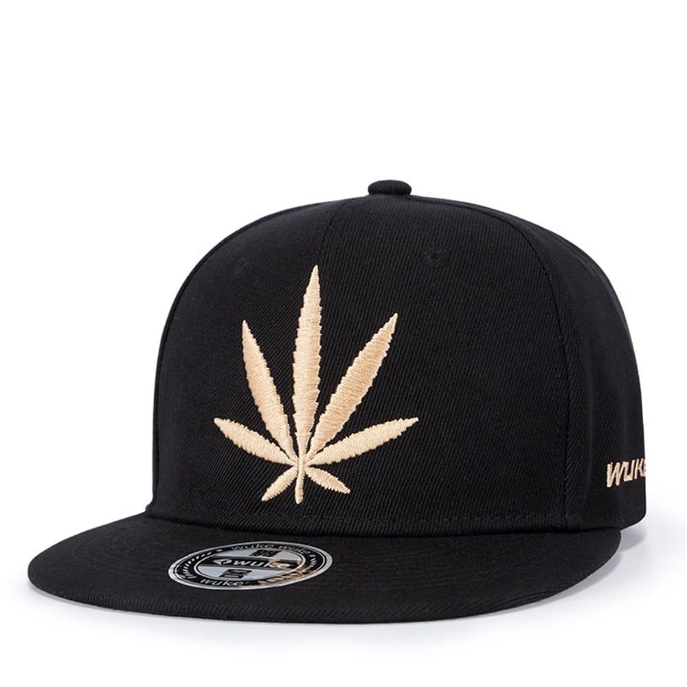 Solid Hemp Leaf Snapback Cap