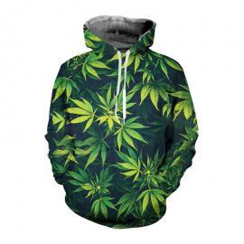 Allstar Green Weed Leaf 3D Print Pullover Hoodies