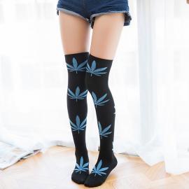Comfortable Long Cotton Marijuana Leaf Stockings