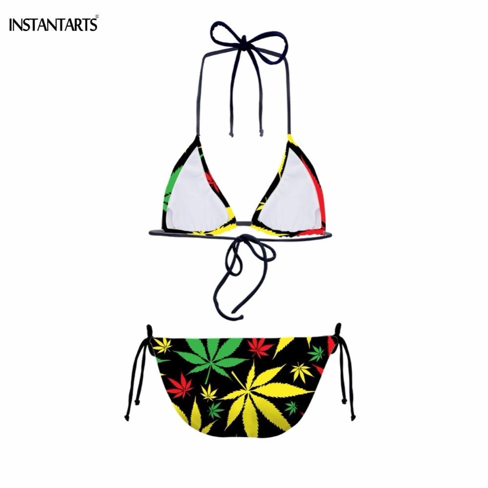 Rasta Style Weed Leaf Print Two-Piece Bikini Set - womens-apparel, swimwear, under-10-clicks, google-feed-2, apparel