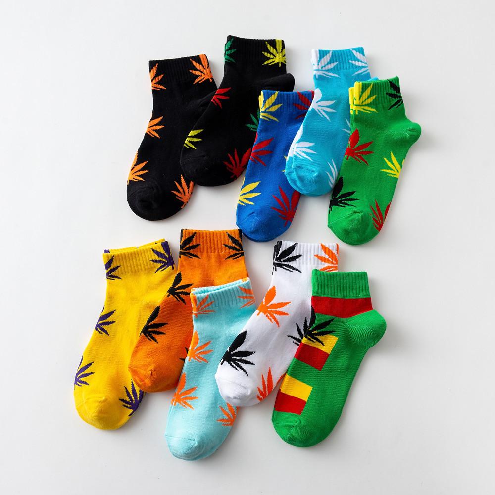 Comfortable Cotton Marijuana Leaf Ankle Socks