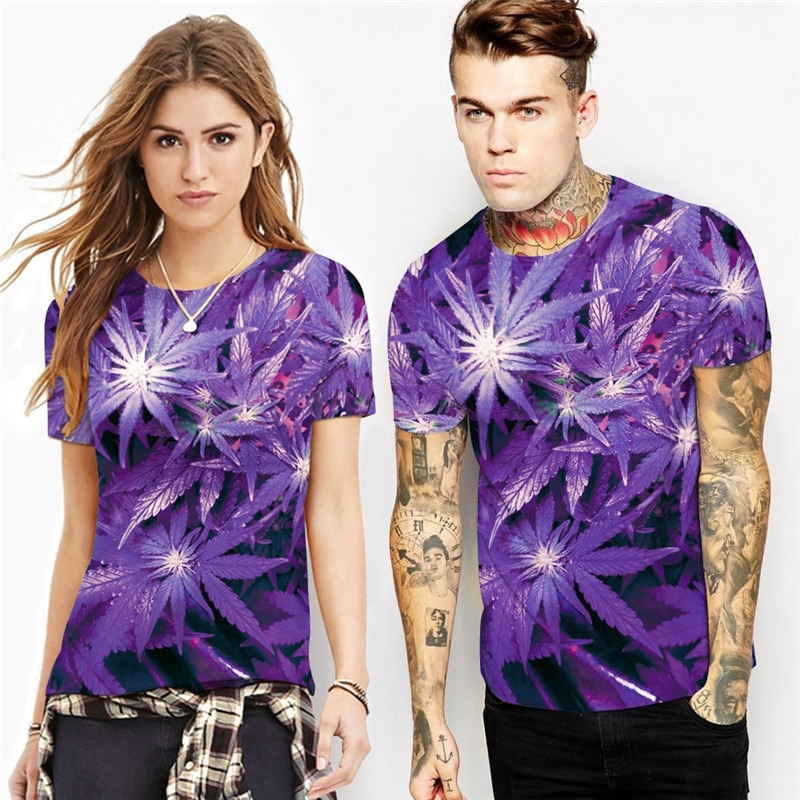3D Hi Res Purple Weed Leaf T-Shirt | Limited Edition - t-shirts, google-feed, apparel