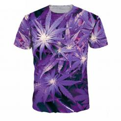 3D Hi Res Purple Weed Leaf T-Shirt   Limited Edition