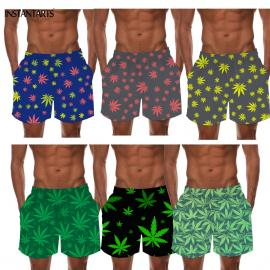 Tropical Hemp Weed Leaf Pattern Quick Dry Board Shorts