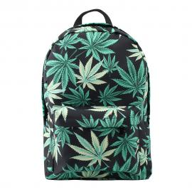 Green & Black Hemp Leaf Waterproof School Backpack